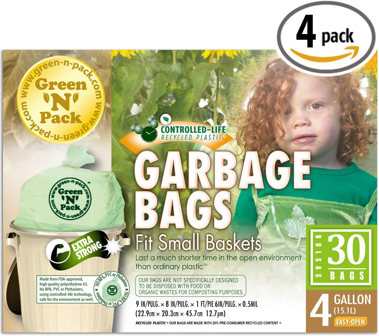 Green N Pack Small Garbage Bags 4 Gallon 30-Count Boxes