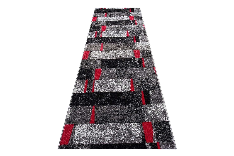 Moderne Läufer Teppich Flur Brücke - Tolle Muster in GRAU ScHWARZ - Teppichläufer TWIST Kollektion 100 x 400 cm