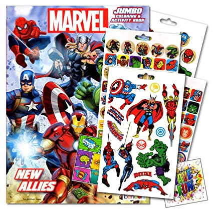 Amazon.com: Marvel Comics Heroes Coloring Book With Stickers and ...