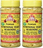Bragg Premium Nutritional Yeast Seasoning Shaker Top, 4.5 ounce, 2 Pack