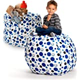Creative QT Stuffed Animal Storage Bean Bag Chair - Extra Large Stuff 'n Sit Organization for Kids Toy Storage…