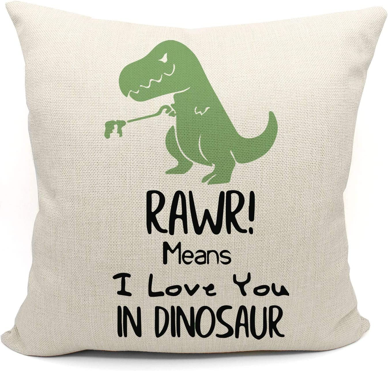 Mancheng-zi RAWR Means I Love You in Dinosaur Pillow case for Son, Daughter, Children, Dinosaur Room Decor, Funny Tyrannosaurus Cotton Linen Cushion Cover Decoration for Sofa Couch Bed 18 x 18 Inch