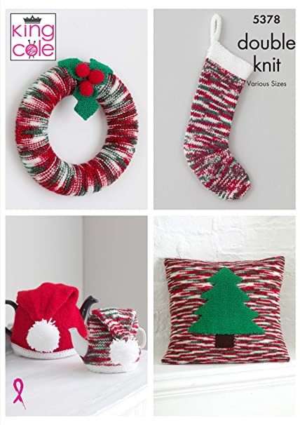 King Cole 5378 Knitting Pattern Christmas Accessories In Glitz Dk