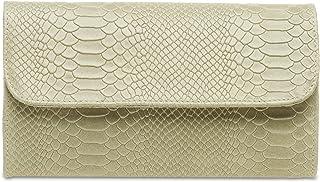 CASPAR TL722 Damen echt Leder Envelope Clutch Tasche Abendtasche mit Kroko Prägung