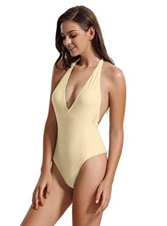 7b87424086a6b zeraca Women's Deep V Neckline One Piece Swimsuit Bathing Suit (S6, Gary  Sand)