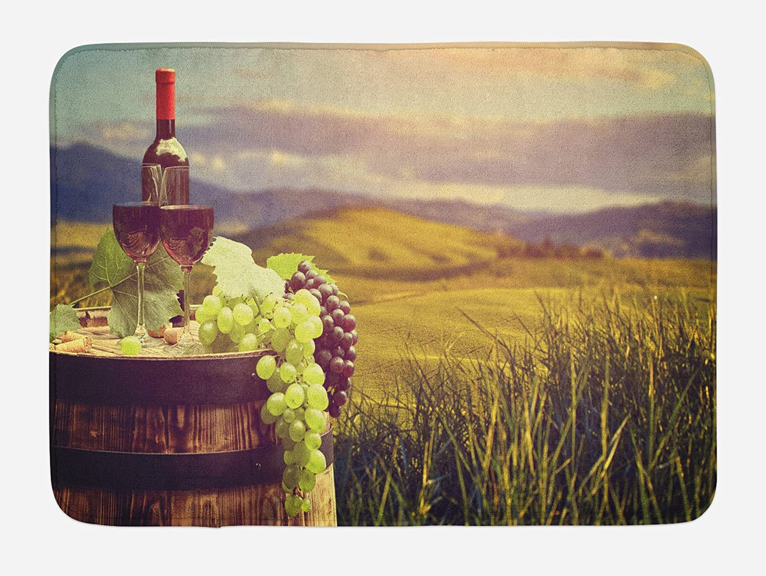 Ambesonne Wine Bath Mat, Italy Tuscany Landscape Rural Vineyard Autumn Harvest Grapes Drink Viticulture, Plush Bathroom Decor Mat with Non Slip Backing, 29.5