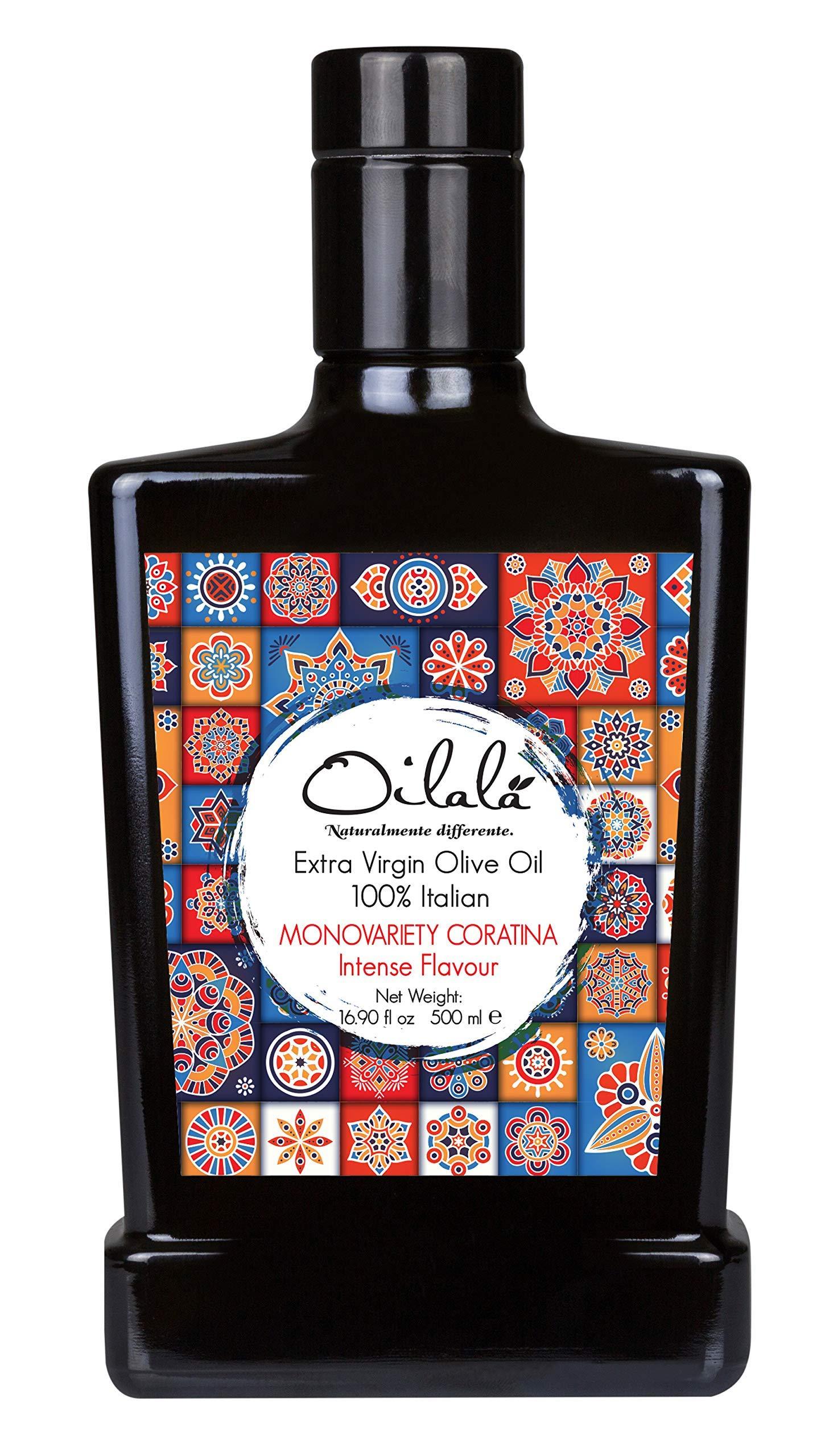 2020/21 Harvest! Oilala Extra Virgin Olive Oil, Robust Flavor, 2020 Gold Medal NYIOOC! filtered, Italian Family Farm Puglia, Italy, Coratina, Polyphenol rich, 500ml (16.9 FL Oz)