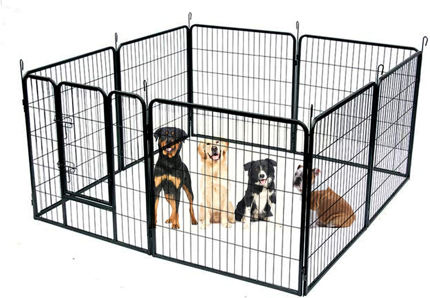 Heavy Duty Exercise Play Pen 41 Inch With Door Sturdy Dog Black Metal Large Pet 8 Panels Inside Kennel Corral Xl Playpen High Gated Puppy Ebook Pet Supplies