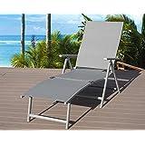Kozyard Cozy Aluminum Beach Yard Pool Folding Reclining Adjustable Chaise Lounge Chair (Gray,1 Pack)