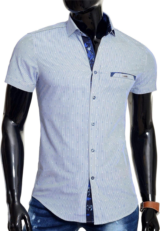 Mondo Mens Short Sleeve Shirt Cotton Slim Fit Blue 100/% Cotton Zip Pocket Layers