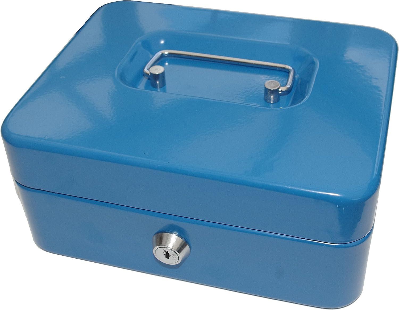 Coin Tray 10 Money Tin Safe Blue Cash Box 2 Keys