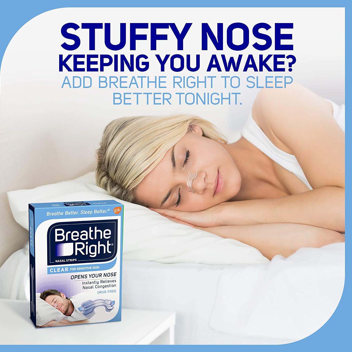 Breathe Right Nasal Strips to Stop Snoring, Drug-Free, Clear for Sensitive Skin, 30 count (Pack of 2): Health & Personal Care