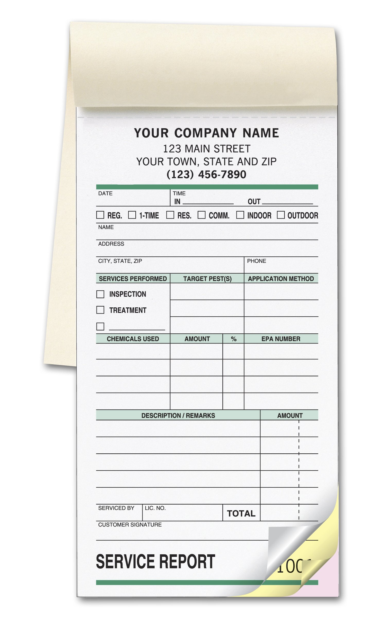 CheckSimple Pest Control Service Receipt Forms, Customized Small Service Order Form Book, 3-Part, White (500 Forms) by CheckSimple