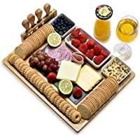 Bamboo cheese board set, with cheese knife, vertical knife holder, ceramic bowl, detachable slate board - high grade…