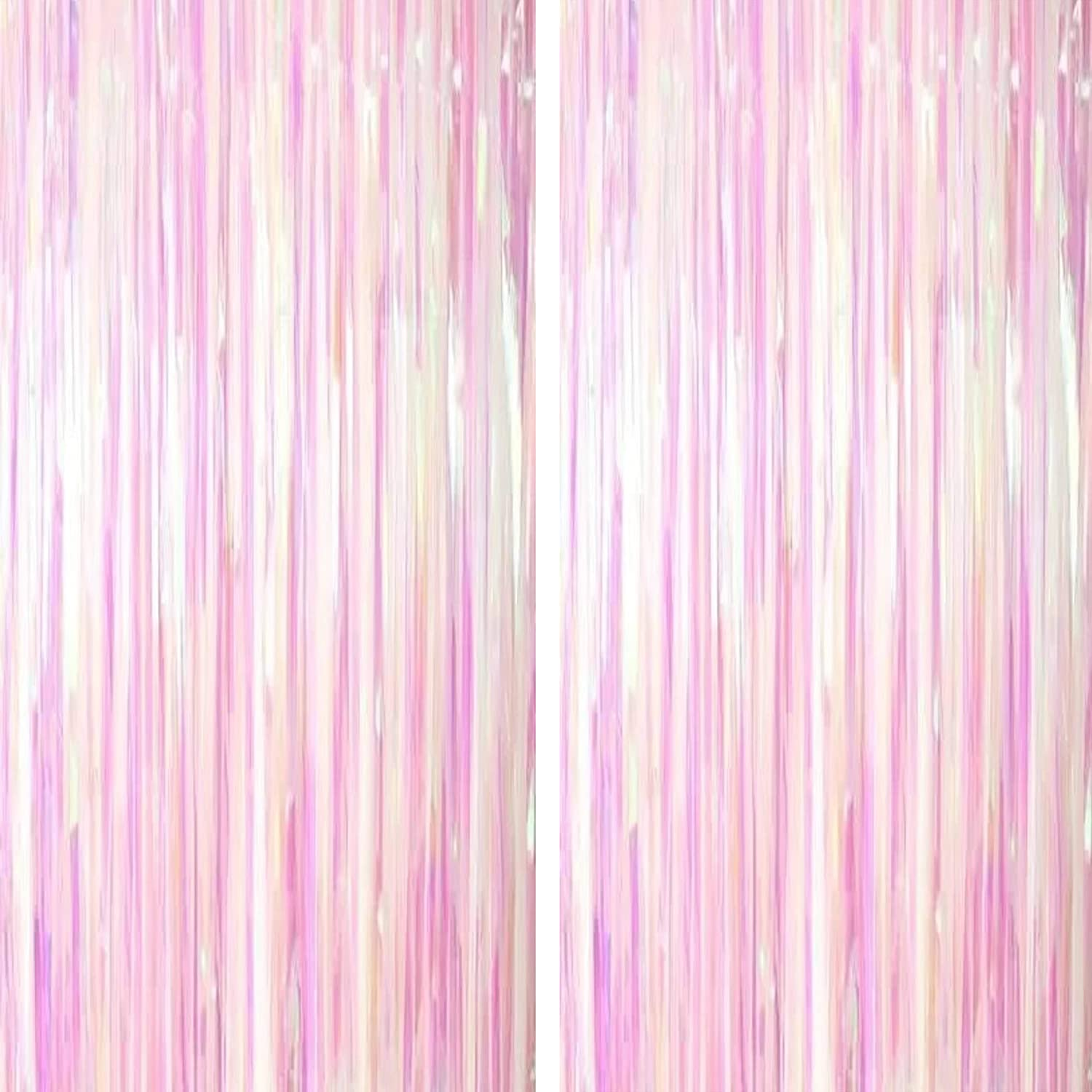 Iridescent Party Tinsel Foil Fringe Curtains - Frozen Baby Shower First Birthday White Wedding Bachelorette Valentines Party Decor Photo Booth Props Backdrops Decorations, 2pc