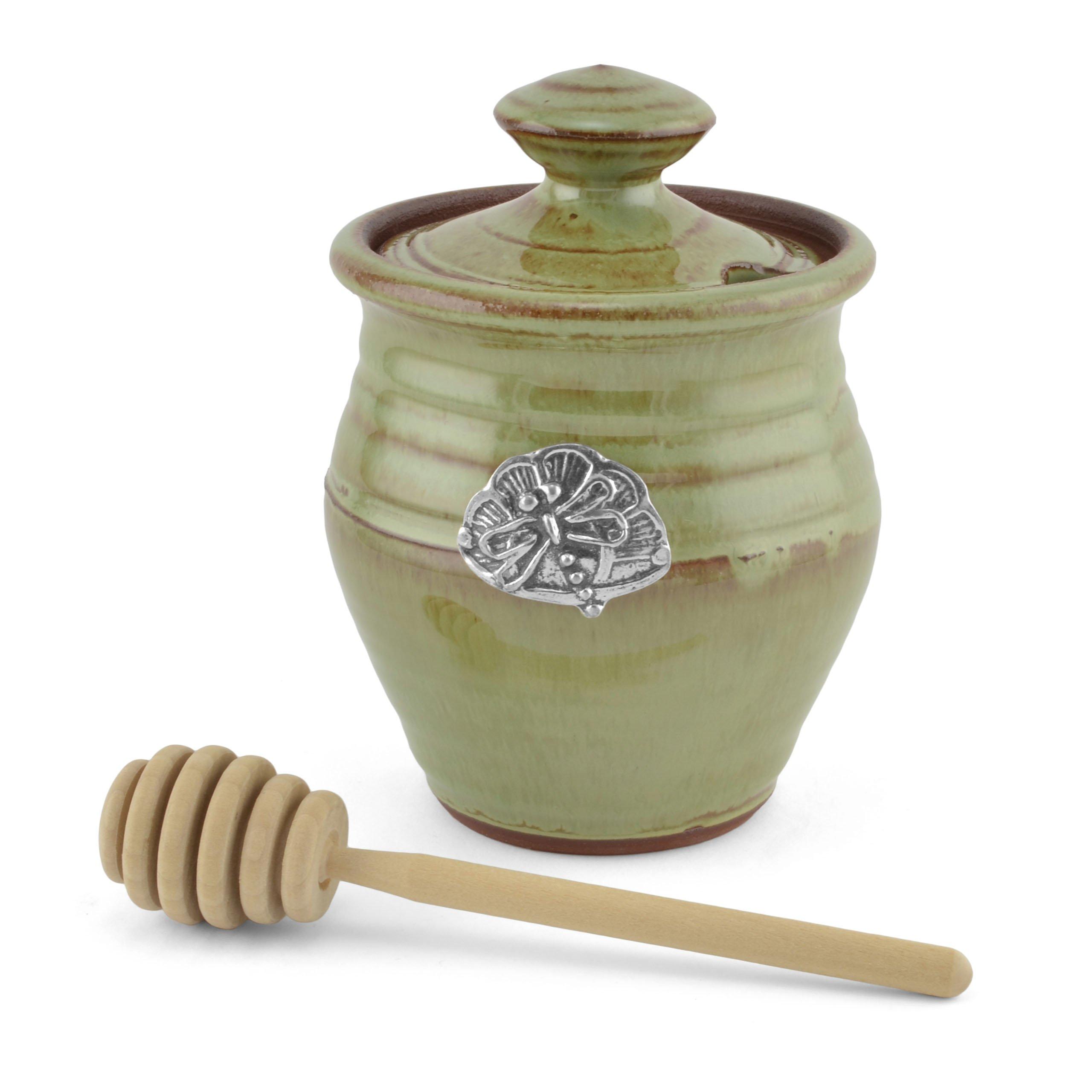 Oregon Stoneware Studio Dragonfly Honey Pot, Pistachio by Oregon Stoneware Studio