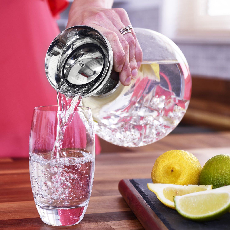 Zoe & Mii Premium 1.5L Botella de cristal con acero inoxidable, jarra de agua, jarra de cristal, regalos, jarra de agua.: Amazon.es: Hogar