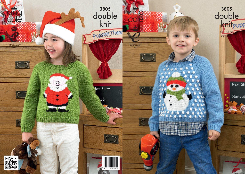 Amazon King Cole Dk Knitting Pattern 3805 Christmas Sweaters