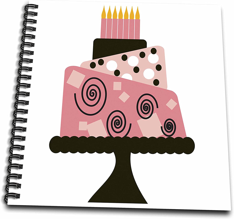 Surprising 3Drose Db 48530 1 Wierd Pink Tilted Birthday Cake Drawing Book 8 Personalised Birthday Cards Veneteletsinfo