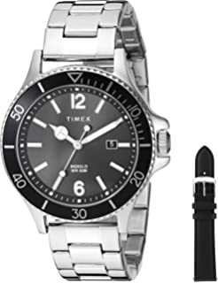 9e0d98f24eda Timex Men s TWG019700 Harborside Silver-Tone Black Stainless Steel Bracelet  Watch Gift Set +