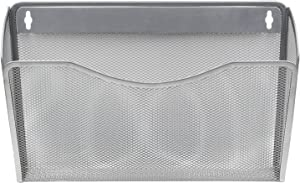 EasyPAG Mesh Collection Single Pocket Wall File Holder Organizer for Office,Silver