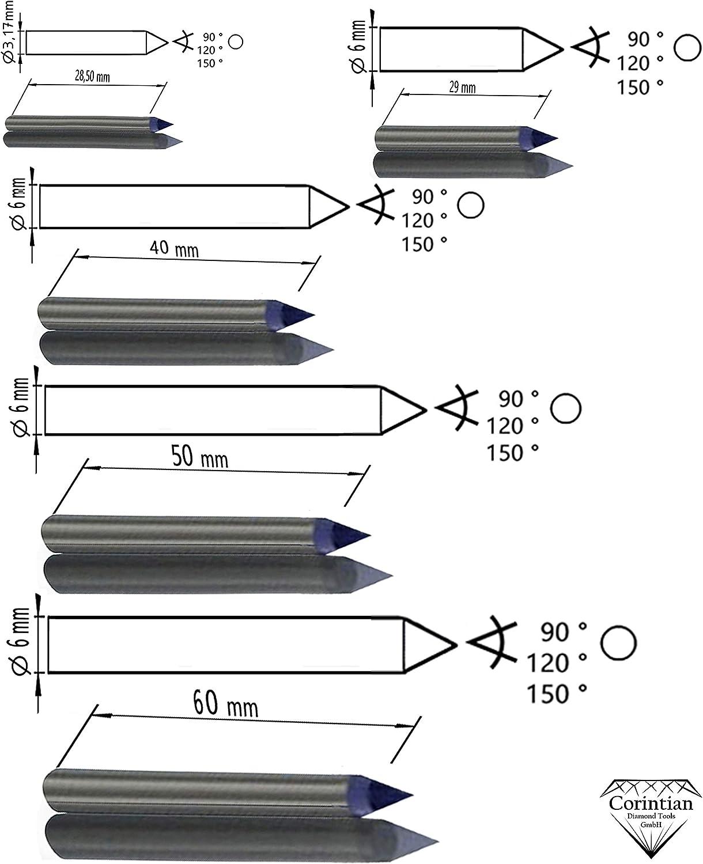 Ritzgravur in Metall L 115mm /Ø 3,17mm 150 Grad Corintian Gravierdiamant Diamantgravierstichel Kegelschliff//Rundschliff Ritzdiamant