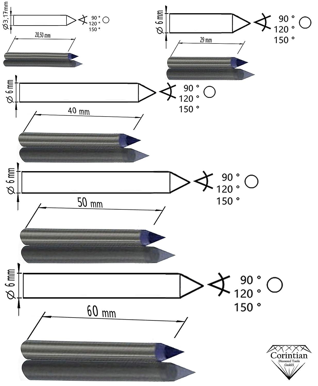 Ritzgravur in Metall Ritzdiamant L 115mm 120 Grad Corintian Gravierdiamant Diamantgravierstichel Kegelschliff//Rundschliff /Ø 3,17mm