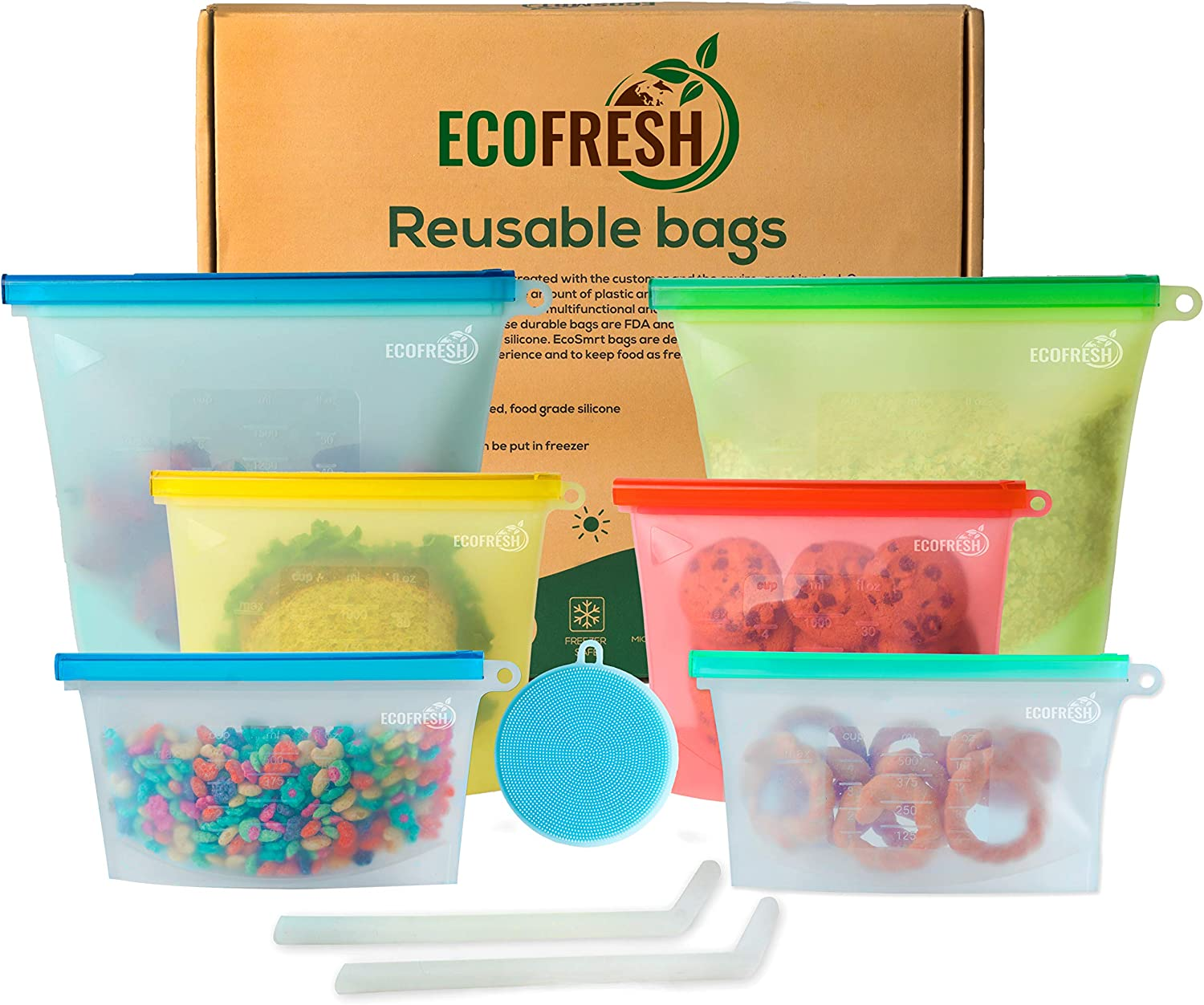 EcoFresh Silicone Food Storage Bag - (Set of 6) 2 Small, 2 Med and 2 Large Reusable Kitchen Bags - Airtight Storage Bags for Lunch, Fruits, and Liquid - Zero Waste Reusable Snack Bag for Freezer