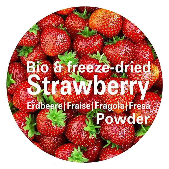 Fresa en Polvo - Liofilizado biológico vegano crudo pura fruta no aditivo rica en vitamina Good Nutritions 120g