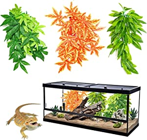 Reptile Plants, Hanging Silk Terrarium Plant with Suction Cup or Bearded Dragons, Snake Pets, Geckos, Lizards and Hermit Crab Tank Habitat Decorations 12 inches 3 Pack