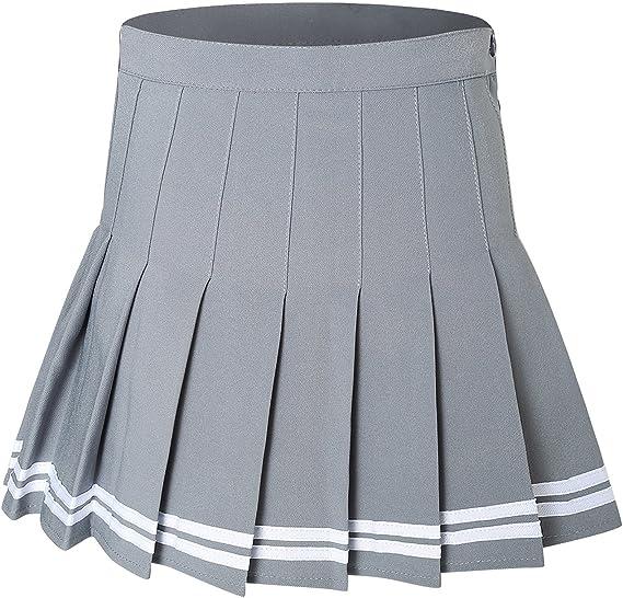 Girls Womens Solid Pleated Mini Short Skirt High Waist Cheerleader Dance Dress