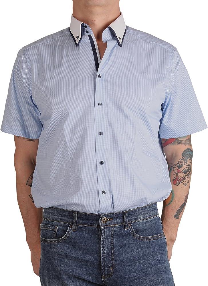Marvelis - Camisa formal - Ajustada - con botones - Manga corta - para hombre Blue(11) 42: Amazon.es: Ropa y accesorios