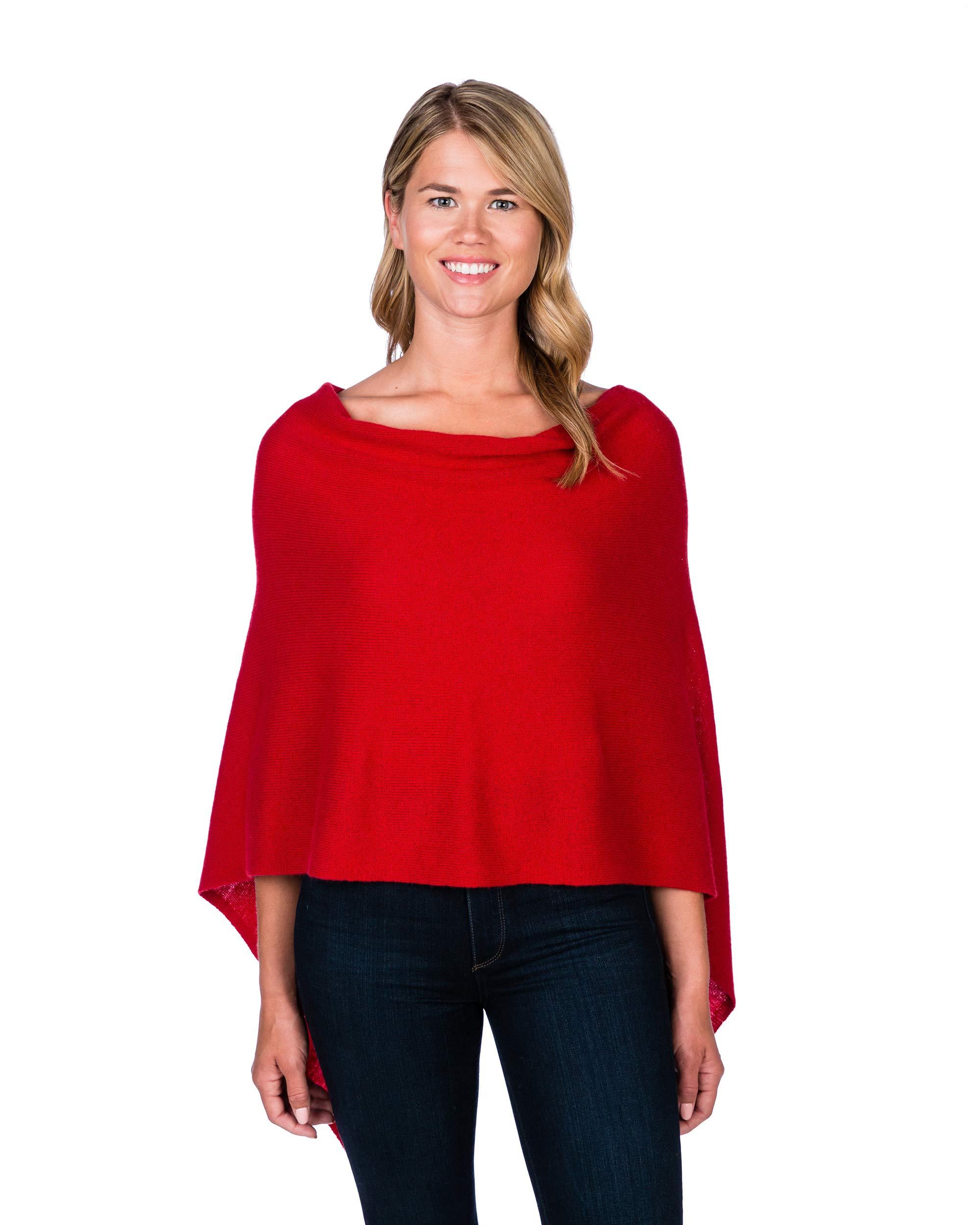 Alashan Cashmere Claudia Nichole Cashmere Draped Dress Topper - Crimson/459