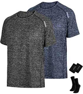 e132483c LIFINAIS Men's Athletic T-Shirt Workout Sports Tech Short Sleeve tee Shirts  Gym Dri Fit