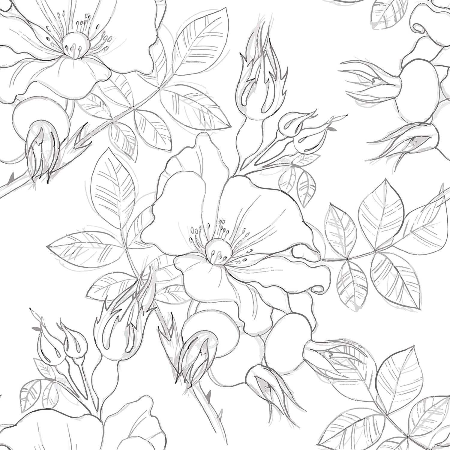 Wallsbyme Peel And Stick Charcoal And White Floral Floral Fabric