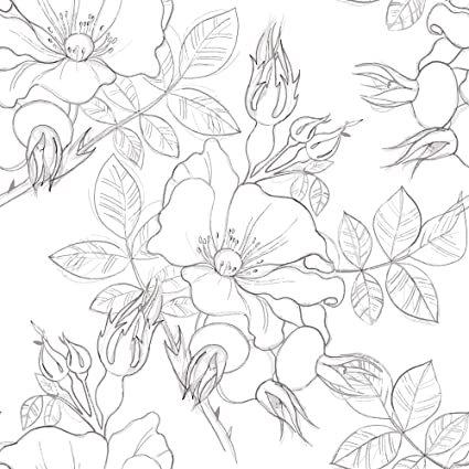Wallsbyme Peel And Stick Charcoal And White Floral Floral Removable