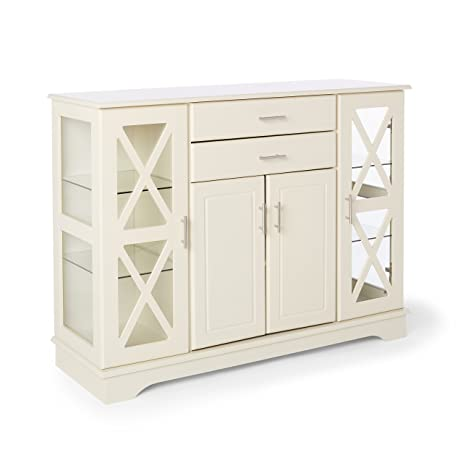 Amazon Com Classic Antique White Buffet Transitional China Cabinet