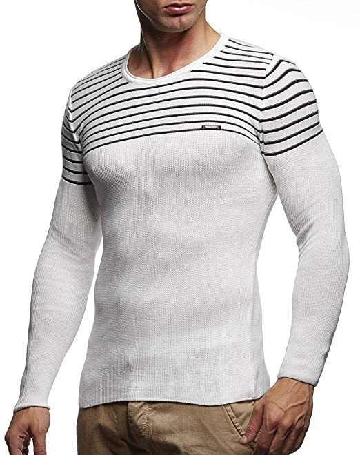 LEIF NELSON Mens Pullover Knit Sweater Hoodie Basic Round Neck Crew Neck Sweatshirt Long Sleeve Sweater Feinstrick LN20729
