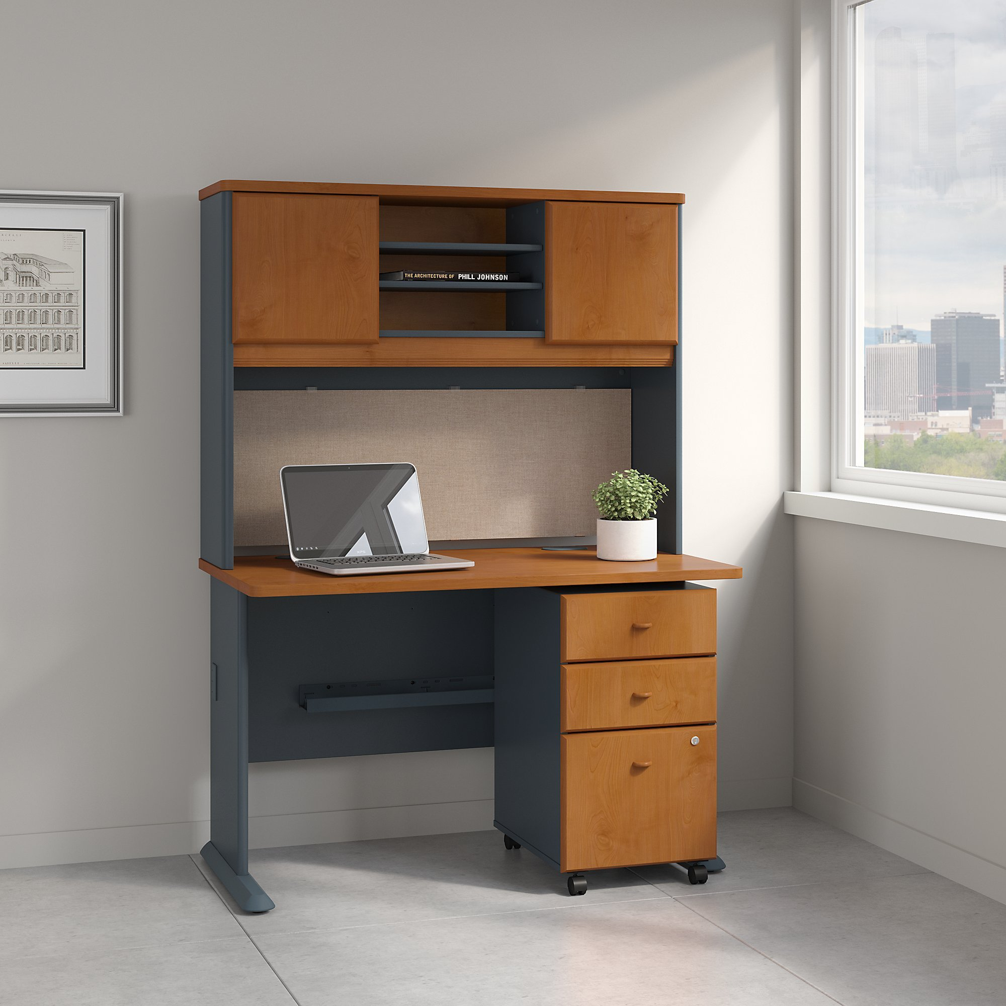 Series A 48W Desk with Hutch and Mobile File Cabinet in Natural Cherry and Slate by Bush Business Furniture (Image #1)
