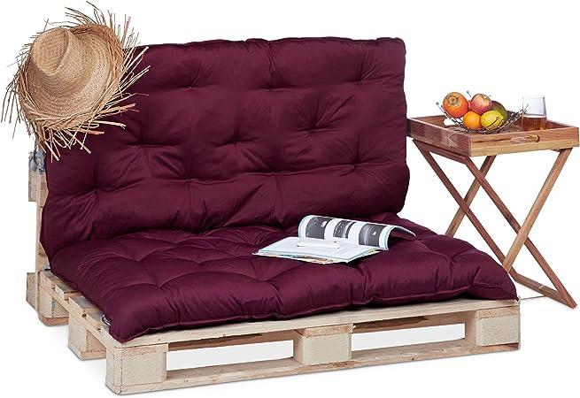 Relaxdays Coussin pour Palette Euro Bois Coussin Jardin Meuble Banc  Banquette, Rouge