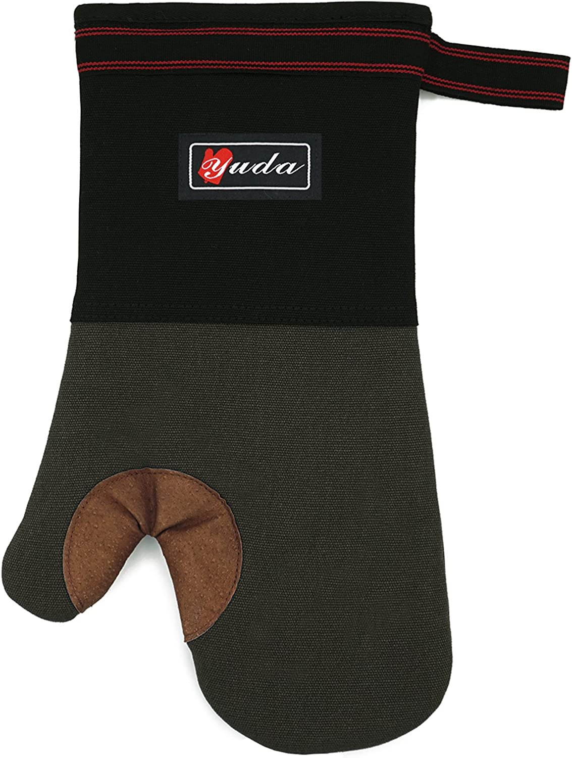 YUTAT L Oven Mitt Oven Gloves Heat Resistant BBQ Leather Long 0ven Mitt with Quilted Liner Professionally Protect Your Hand During Baking Doing BBQ or Carry Hot Pot(1 Piece)