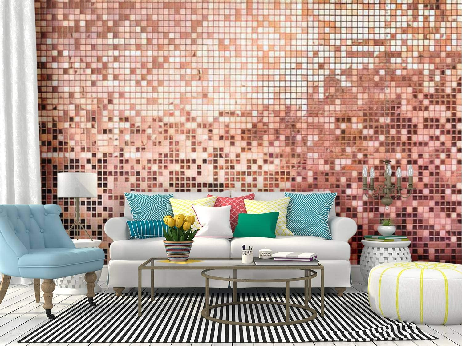 Recethrows Wall Mural Pink Rose Gold Square Mosaic Tiles For Texture Background Peel And Stick Wallpaper Self Adhesive Wallpaper Large Wall Sticker Removable Vinyl Film Roll Shelf Paper Home Decor Home