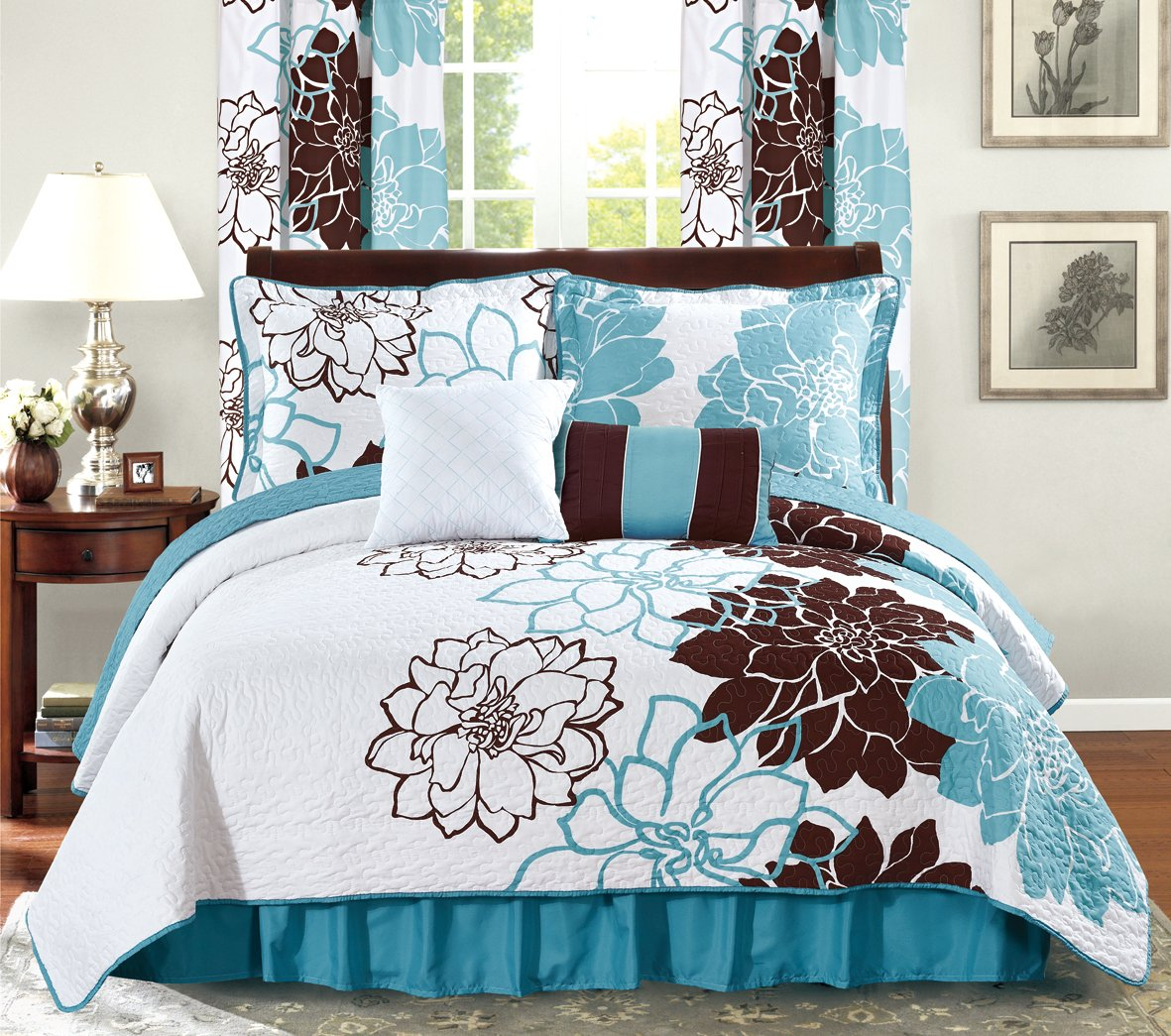 Turquoise  Brown CAL KING 6PC All American Collection New 6 Piece Printed Reversible Bedspread Set with Dust Ruffle (Yellow Grey, Queen Size)