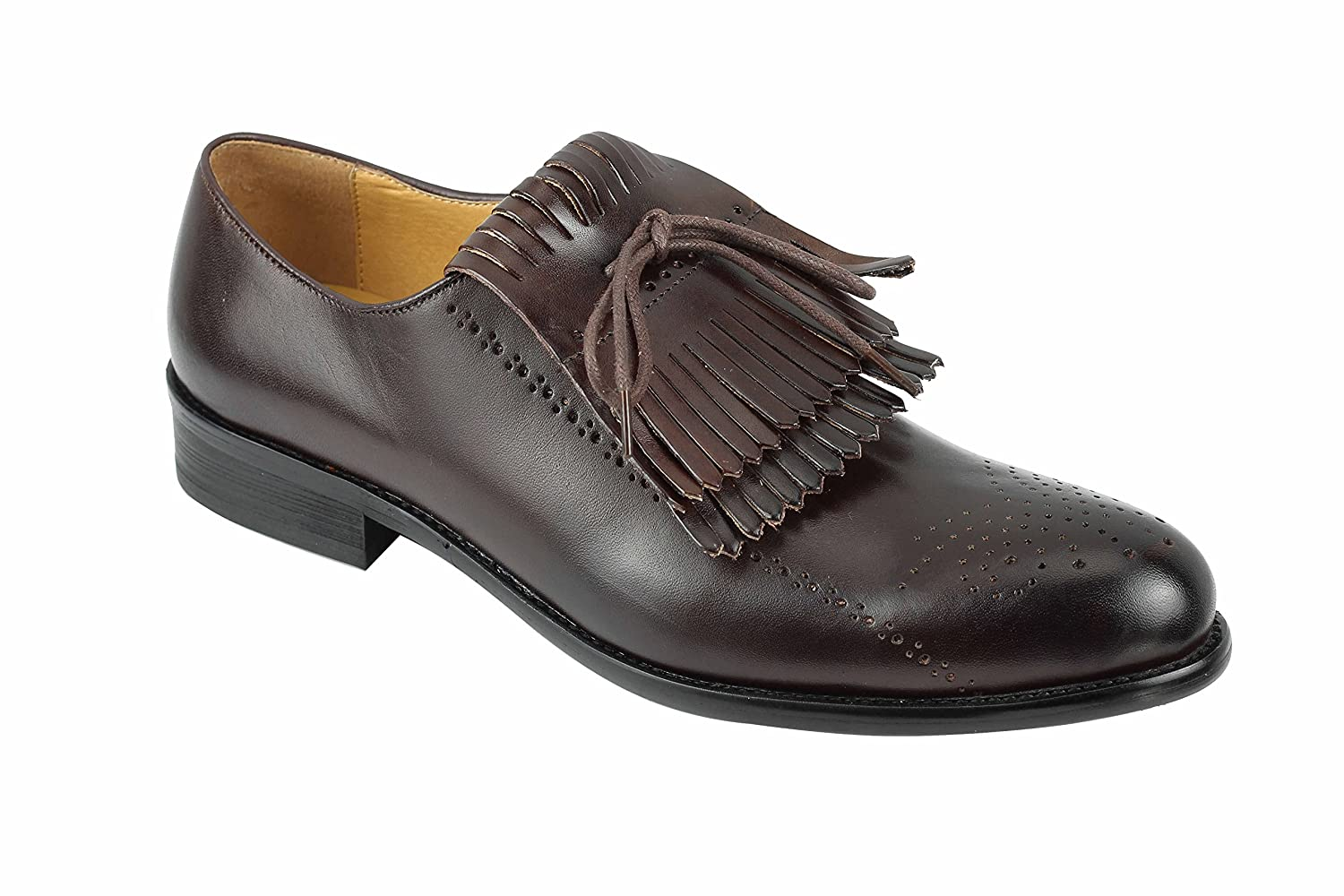 Xposed Herren Schwarz Schwarz Schwarz Braun Maroon Leder Abnehmbarer Fringed Vintage Lace Up Oxford Smart Abendkleid Schuhe 49d423
