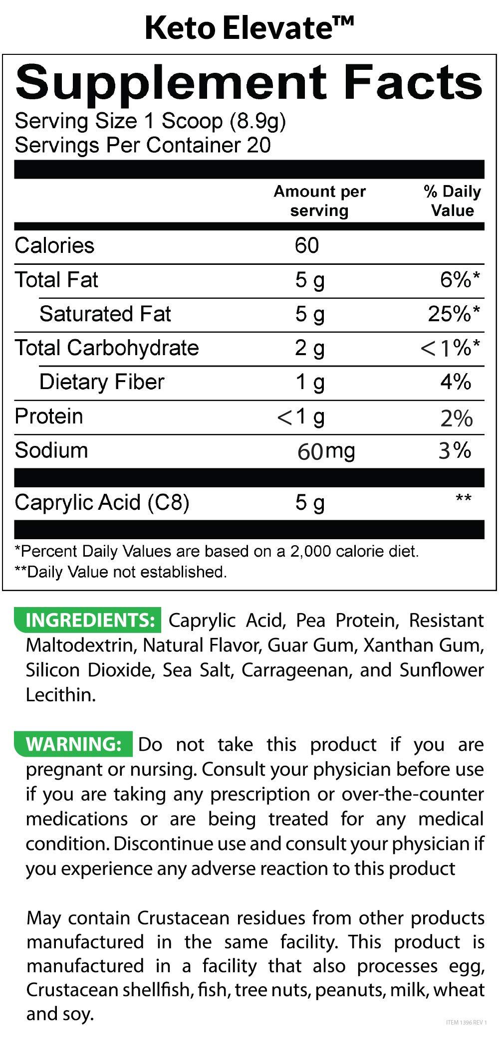 BioTrust Keto Elevate - Keto Boosting Pure C8 MCT Oil Powder   Ketogenic Diet Supplement   Keto Coffee Creamer   100% Caprylic Acid by BioTrust