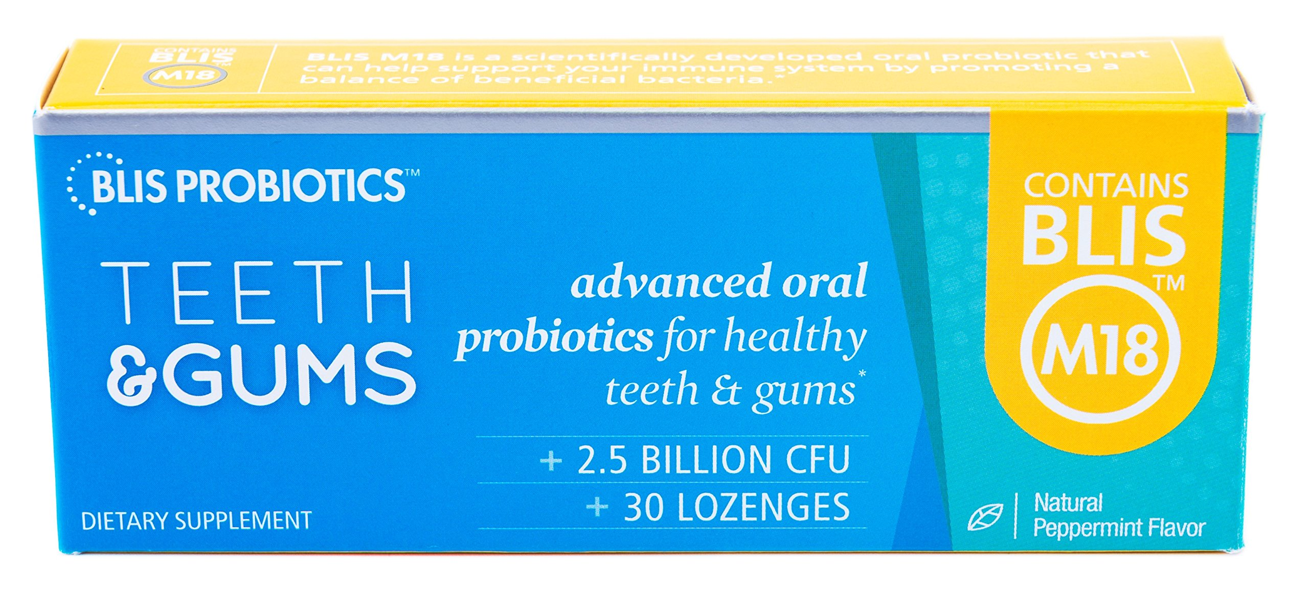BLIS Teeth&Gums Oral Probiotic, Most Potent BLIS M18 Formula Available, 2.5 Billion CFU, Healthy Mouth, Teeth and Gums, Support for Adults and Kids, Sugar-Free Lozenges, 30 Day Supply