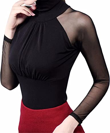 Longra Mujer Camiseta Blusa Transparente Suéter de Cuello Alto Mangas Largas Elegante Moda Oficina Casual: Amazon.es: Ropa y accesorios