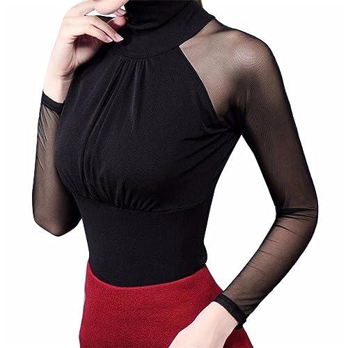 Mujer Camiseta Blusa Transparente Suéter de Cuello Alto Mangas Largas Elegante Moda Oficina Casual, ...