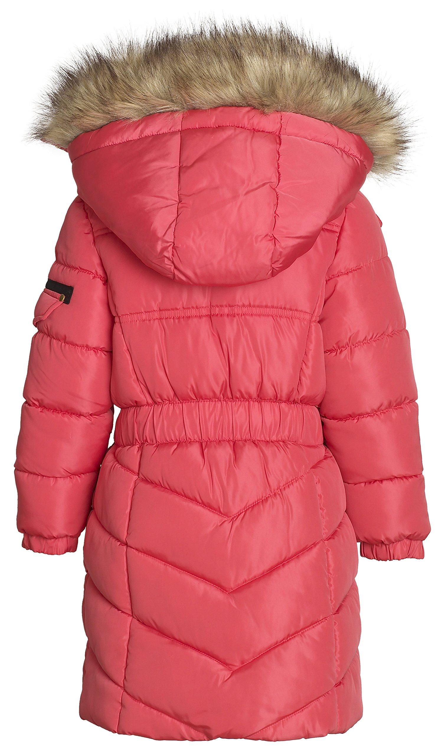 Sportoli Girls' Winter Heavy Quilt Padded Puffer Jacket Plush Lined Hooded Coat (Hibiscus, 7/8) by Sportoli (Image #2)
