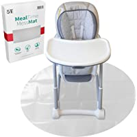 S&T INC. Baby Meal Time Splat Mat - Water Resistant High Chair Mat for Floors - 42 Inch Diameter Round - Clear Plastic